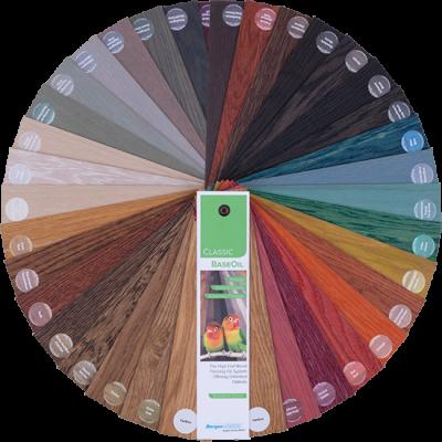 """מניפה צבעונית של שמן לפרקט (Classic BaseOil).אקולוגי, קלאסי זמין במבחר גרסאות גוון, כולל בגוון """"בלתי נראה"""" (NOVISINLE)"""