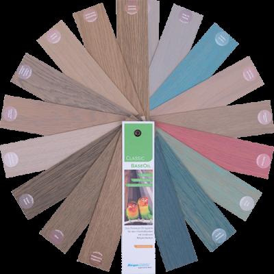 """מניפת צבעי פרקט של שמן לפרקט (Classic BaseOil).אקולוגי, קלאסי זמין במבחר גרסאות גוון, כולל בגוון """"בלתי נראה"""" (NOVISINLE)"""